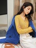 歐貨純色V領打底衫上衣秋冬季2020新款衣服韓版寬鬆內搭長袖t恤女