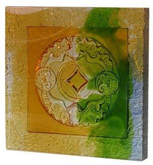 鹿港窯~居家開運琉璃磚【福在眼前(陰雕)】( 14.5X14.5cm )  附古法製作珍藏保證卡◆免運費送到家