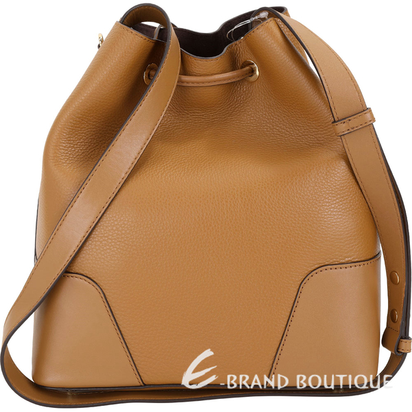 Michael Kors Cary 中型 荔紋皮革拼接束口水桶包(棕色) 1910289-B3