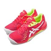 Asics 網球鞋 Gel-Challenger 12 桃紅 白 螢光黃 女鞋 網球專用 【ACS】 1042A041705