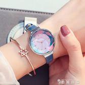 手錶女學生韓版簡約女錶時尚潮流ulzzang休閒皮帶防水石英錶   薔薇時尚