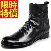 馬丁靴-有型個性簡約男中筒靴3色58f15[巴黎精品]