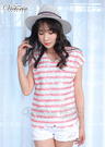Victoria 印條蕾絲V領落肩短袖T-女-粉色/水藍