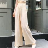 簡約寬鬆杏色百搭高腰闊腿褲百褶休閒褲女