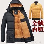 爸爸冬季羽絨棉服老人冬裝外套大碼中老年男士棉襖加絨加厚款棉衣 千千女鞋