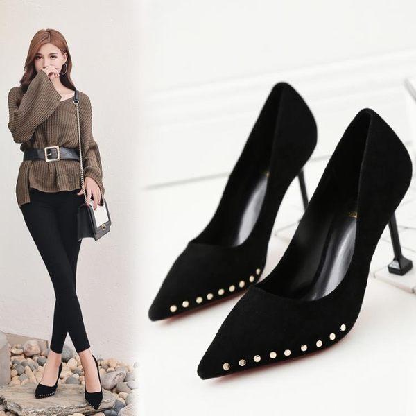 尖頭鉚釘正韓貓跟女鞋高跟鞋女細跟淺口時尚百搭單鞋