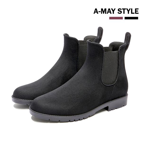 短靴-英倫反絨拼接馬丁雨靴