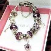 紫水晶轉運珠開運手鍊女 韓版個性串珠手串 網紅情人節禮物女生
