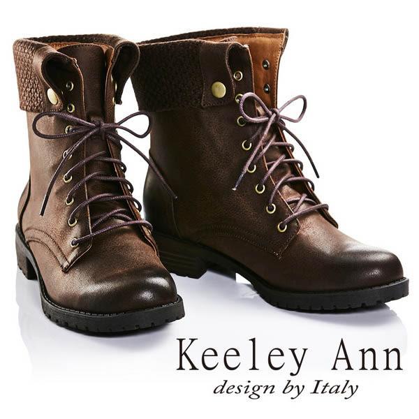 ★2016秋冬★Keeley Ann率性街頭反摺真皮中筒靴(咖啡色) -Ann系列