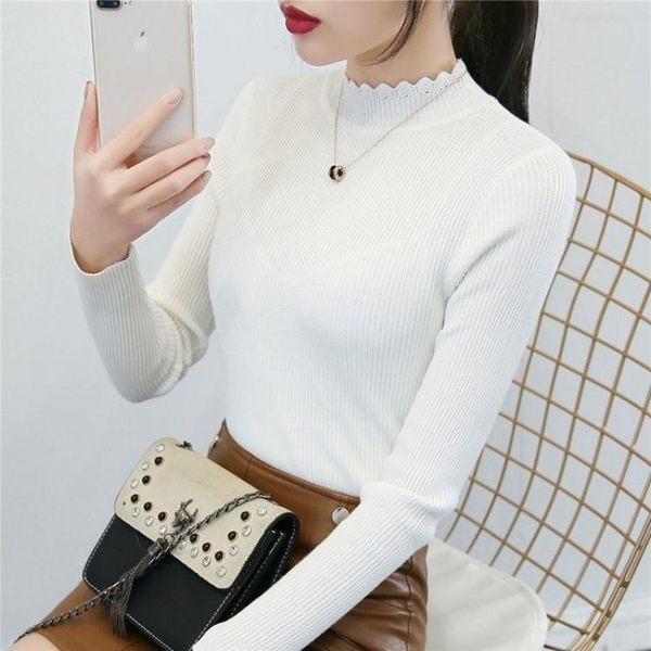 半高領白色毛衣女打底衫長袖百搭套頭線衣秋冬短款修身緊身針織衫 麻洋