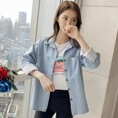 寬鬆牛仔襯衫女長袖新款韓版學生條紋襯衣原宿外套 【傑克型男館】