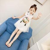 女童夏裝新款連身裙夏季繡花紗裙洋氣公主裙中大兒童背心裙子【卡米優品】