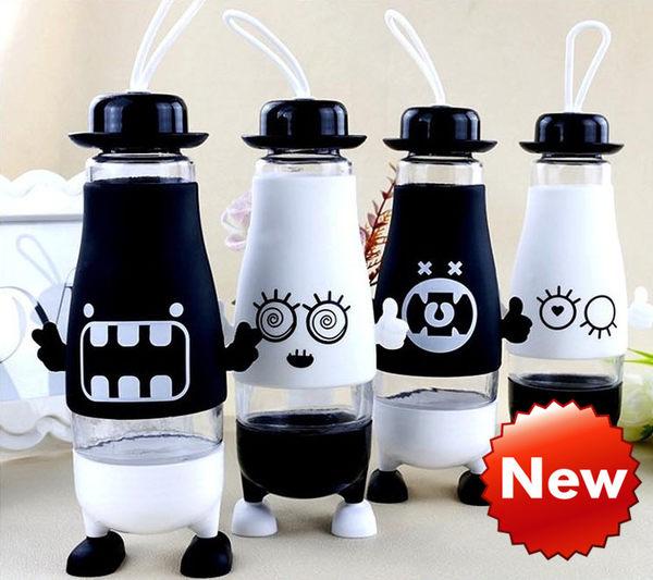 水杯【KCG113】可愛表情創意帶腳便攜玻璃杯380ml 水瓶 瓶子 咖啡杯 隨行杯 水壺-123ok