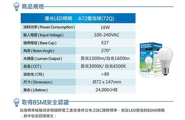 【億光 EVERLIGHT】16W LED 全電壓 E27燈泡 PLUS升級版 白/黃光4入