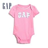 Gap女嬰徽標LOGO信封領連體衣583936-螢光粉