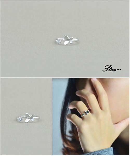 Star 銀色系列 -銀飾蝴蝶設計指環(S925)-A1