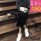 寬褲-Tirlo-飄逸繫帶修飾寬管長褲-...