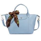 LONGCHAMP小羊皮手提肩背兩用短提把小型水餃包(淡藍色-含帕巾)480190-B40