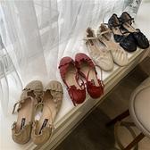 甜美包頭涼鞋女夏天仙女風平底春新款中空一字扣時尚百搭單鞋