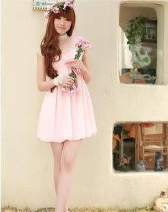 蕾絲袖子抹胸式甜美粉色雪紡連衣裙