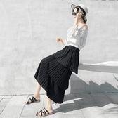 中長款半身裙2019夏季新款女裝大碼顯瘦大擺小清新雪紡蛋糕裙子潮 潮人女鞋
