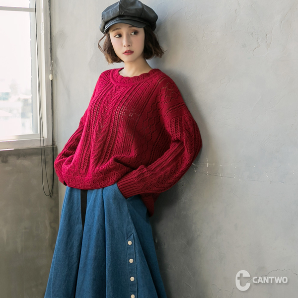 CANTWO鏤空麻花針織上衣-共三色