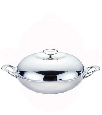 [家事達] 寶馬牌 白金鋼七層炒鍋(雙手) 40cm 炒鍋   特價 不銹鋼鍋