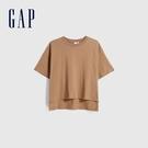 Gap女裝 純棉質感厚磅圓領短袖T恤 629536-駝色