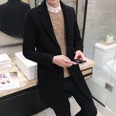 【熊貓】風衣男韓版修身中長款加厚呢子外套