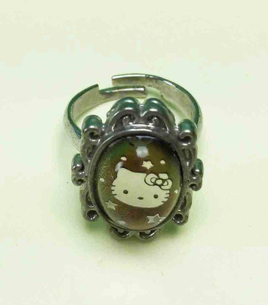 【震撼精品百貨】Hello Kitty 凱蒂貓~變色戒指-凸橢圓