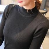 半高領毛衣打底衫女長袖短款2018秋冬新款套頭百搭修身緊身針織衫【全館免運】