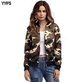 夾克外套  秋裝女外套迷彩服 時尚拉鏈棒球服 迪澳安娜