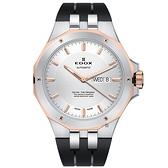 EDOX Delfin 海豚系列 專業200米日曆機械錶-銀x玫塊金框/43mm E88005.357RCA.AIR