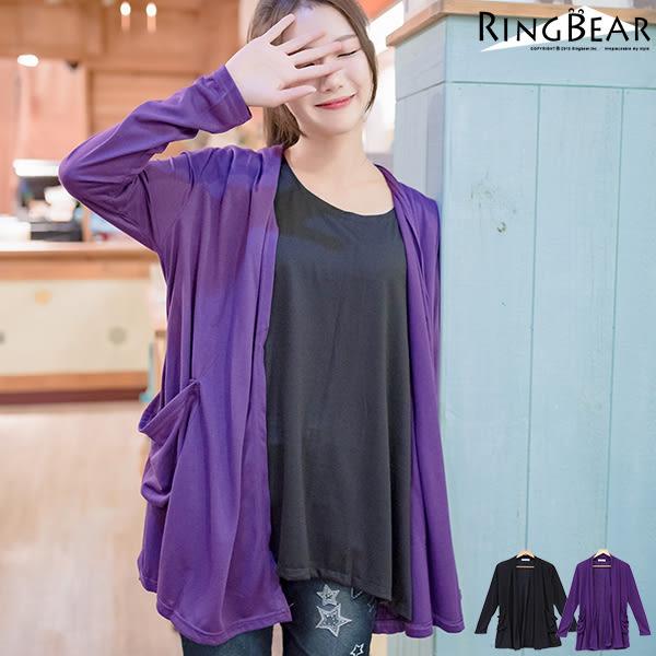 薄外套--經典實搭立體口袋素面棉質罩衫長版外套(黑.紫M-2L)-J56眼圈熊中大尺碼◎