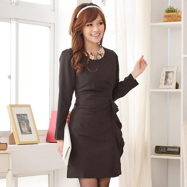 完美OL修身顯瘦款長袖連身洋裝-美之札~M碼出清不退