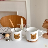 可愛考拉陶瓷杯女大容量馬克杯帶蓋帶勺大容量【白嶼家居】