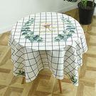 桌布 北歐簡約綠色植物圓桌布布藝防水茶几蓋布巾正方形餐桌布桌墊