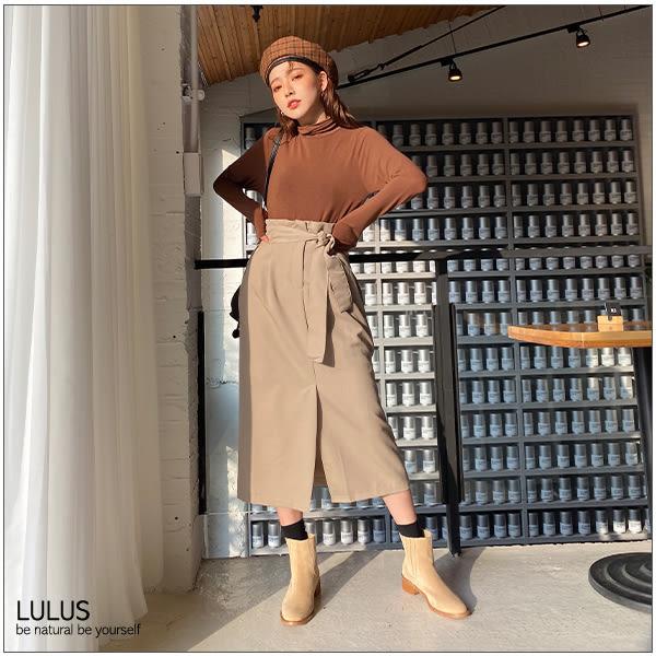 LULUS-Y後鬆緊高腰長裙-附綁帶-3色  【05190079】