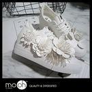 小白鞋  韓國手工時尚花朵內增高白色女鞋...