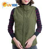 UV100 防曬 抗UV 保暖柔毛感修身背心-女
