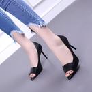 魚口鞋 2021春夏新款魚嘴黑色性感百搭細跟高跟鞋淺口涼鞋單鞋時尚女鞋子