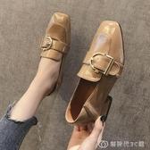 ins黑色小皮鞋女英倫秋款新款粗跟工作單鞋中跟一腳蹬樂福鞋 創時代3c館