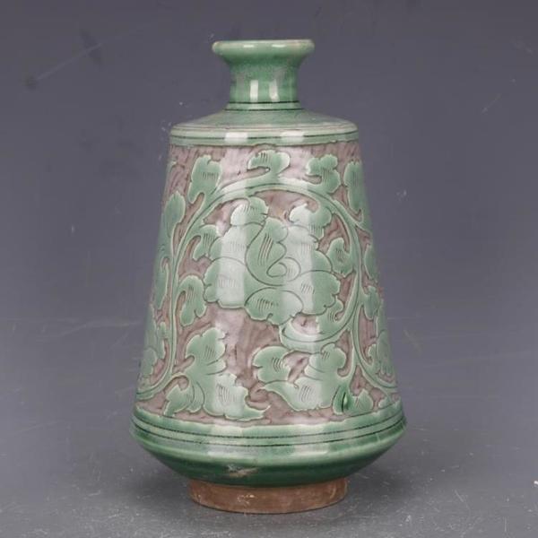 宋磁州窯刻纏枝花紋插花瓶仿古老貨瓷器家居中式裝飾擺件古玩收藏1入