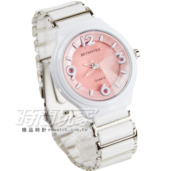 BETHOVEN 立體數字時刻愛心陶瓷腕錶 數字錶 女錶 防水手錶 BE2052淺粉