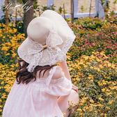 帽子 刺繡花朵蕾絲蝴蝶結編織草帽-Ruby s露比午茶