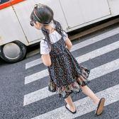 女童套裝夏裝童裝新款韓版碎花短袖T恤吊帶裙兩件套寶寶衣服