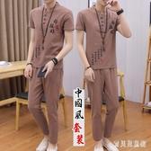 5XL中國風亞麻套裝 潮流時尚休閒棉麻短袖t恤男士半袖衣服夏裝 TR913『寶貝兒童裝』