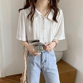 短袖襯衫 白色襯衫女短袖設計感小眾襯衣2021新款復古港味法式v領氣質上衣 嬡孕哺