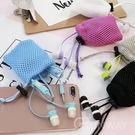 簡約撞色 帶麥耳機 +防撞收納袋 尼龍網袋 3.5mm 接口 入耳式 扁線防纏 可愛耳機