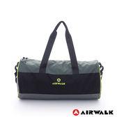 美國 AIRWALK  跳躍節奏 亮彩輕量尼龍運動旅行圓筒包(附收納束口袋)-黑灰綠